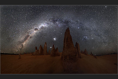 The Pinnacles of Nambung in Western Australia under the arc of the Milky Way are an alien-looking sight.