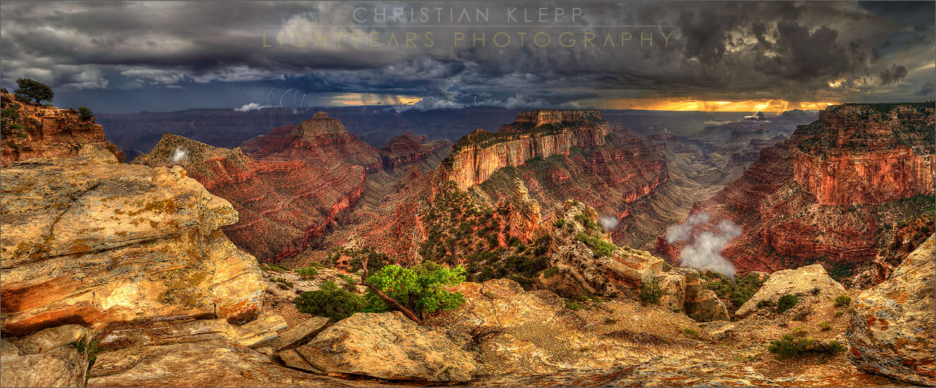 Arizona's Grand Canyon of the Colorado River at North Rim Cape Royal during a lightning storm.