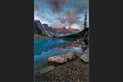 Sunrise at Moraine Lake in the Valley of the Ten Peaks in the Canadian Rocky Mountains of Alberta near Banff