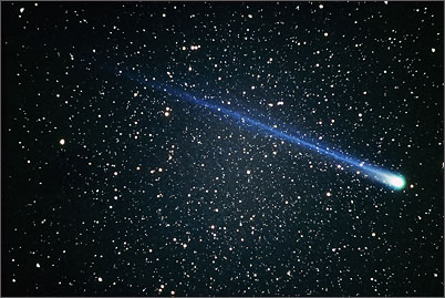 The bright comet Hyakutake in the Big Dipper constellation at its perihelion in February 1996.