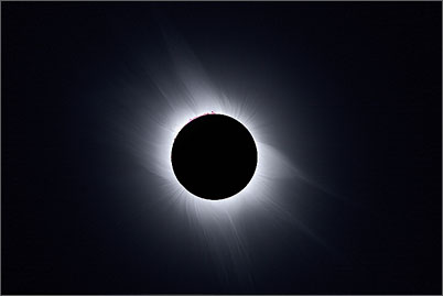 The full corona during the total solar eclipse of 2006 near Side in Turkey.