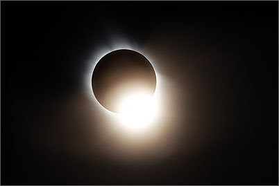 The diamond ring and the corona during the total solar eclipse of 2006 near Side in Turkey.